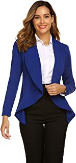 Classic Draped Open Front Blazer for Women Work Office Blazer Jacket S-XXL