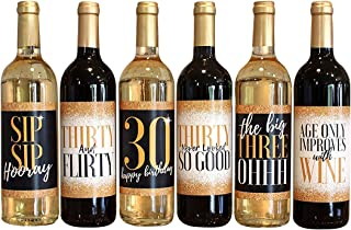 6 30th Birthday Wine Bottle Labels or Stickers Present, Dirty Thirsty Flirty Thirty Bday Gifts For Women, Cheers to 30 Years, Funny Black Gold Party Decorations Supplies For Wife, Girl Mom