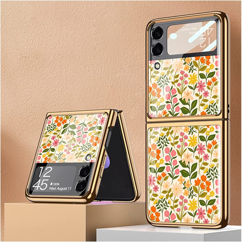 DOOTOO for Samsung Galaxy Z Flip 3 Case Luxury Plating PC Hybrid Glass Crystal Cover Colorful Flower Pattern Fold Protection Case for Samsung Galaxy Z Flip 3 2021 (Multicolor 02)