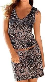 25c83ec804f22 Robe Droite Femme,SANFASHION Robe Col V Boutons Plier Mini Robe sans  Manches Shirt Robe