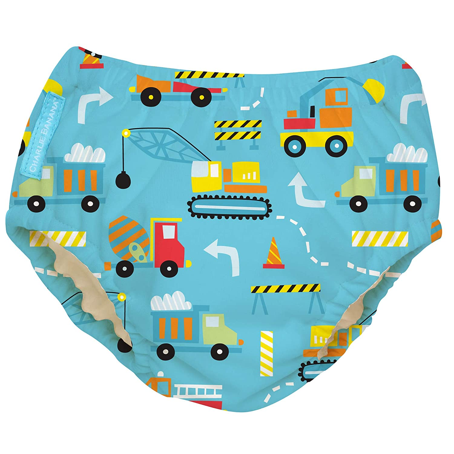 Charlie Banana Baby Reusable and Washable Swim Diaper for Boys or Girls, Construction, X-Large : Baby