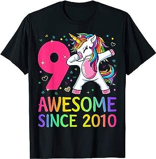 9 Years Old 9th Birthday Unicorn Dabbing Shirt Girl Party T-Shirt