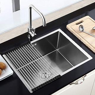 HomeLava Moderne Einbauspüle Edelstahl Spülbecken Eckig 60 x 45 cm für Küche ohne Wasserhahn