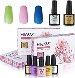 Gel Polsih, Elite99 UV LED Soak off Gel Nail Polish Set Shiny Varnish Nail Art Manicure Kit 3 Colors + Top Coat and Base Coat C042
