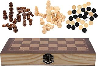 TOYMYTOY International Chess Set Foldable 3 in 1 Wooden Chess Board Games Backgammon Checkers Educational Chess Toy for Ad...