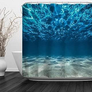 ALFALFA Sea Shower Curtains,Clear Underwater Blue Ocean Waves Hooks Included, Waterproof Fabric Shower Curtains,72