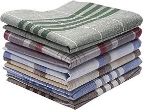Dokpav 6 PCS Men's Handkerchiefs, Handkerchief Set, 100% Soft Cotton Hankie, Assorted Pure Cotton Handkerchiefs Men's Stripe Checkered Pattern Handkerchiefs Pocket Square Hankies- 40 x 40cm