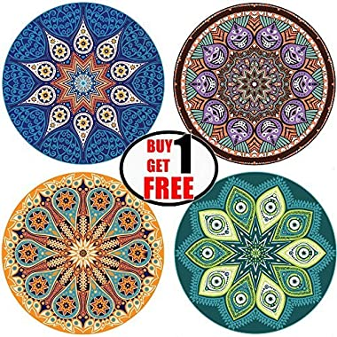Absorbent Coasters For Drinks, 4 Pack Large 4.3  Size Ceramic Stone Coaster With Cork Back, Mandala Style, Holder Available Separately, Save Furniture From Drink Spill and Water Rings