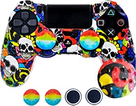 SKINOWN PS4 Controller Skin Grip Silicone Case Anti-Slip Protective Grip Cover for PS4 Controller with 4 Thumb Grips(Skull)