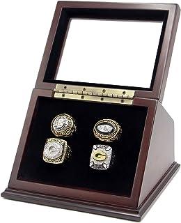 جعبه مورد جعبه نمایش حلقه های قهرمانی با 4 سوراخ و پنجره شیشه ای کشیده برای هر حلقه قهرمانی - حلقه ها شامل نمی شوند