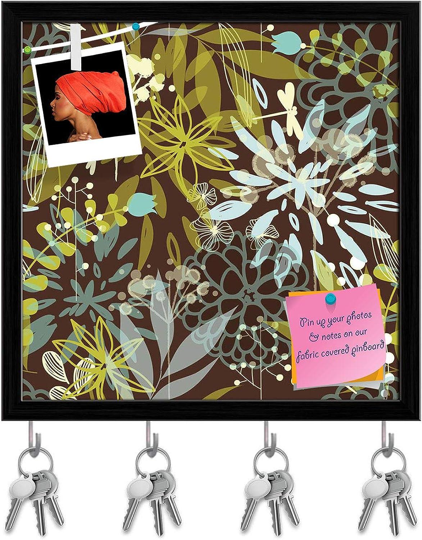 Artzfolio Floral Abstarct Key Holder Hooks   Notice Pin Board   Black Frame 20 X 20Inch