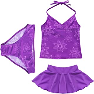 FEESHOW Girls' 3 Pieces Halter Tankini Swimsuit Swimwear with Skirt Bathing Suit