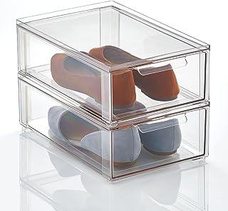mDesign Pojemnik do przechowywania – Solidny plastikowy organizer na buty – Pudełko z szufladą do układania butów, akcesor...