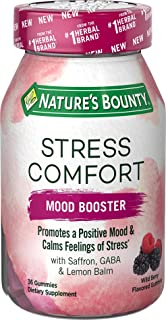 Stress Comfort Gummies by Nature's Bounty, Mood Booster, Dietary Supplement with Saffron, GABA, and Lemon Balm, Calms Feel...