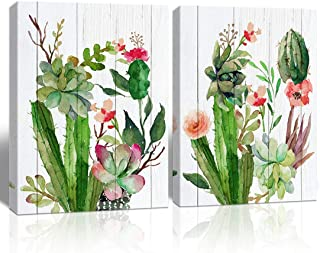 Loom Art Cactus Picture for Wall Decor Green Plant Orchid Flower Watercolor Painting Canvas Print Wall Art Modern Artwork for Kids Home Bedroom Living Room Decoration 12x16, 2PCS, Framed
