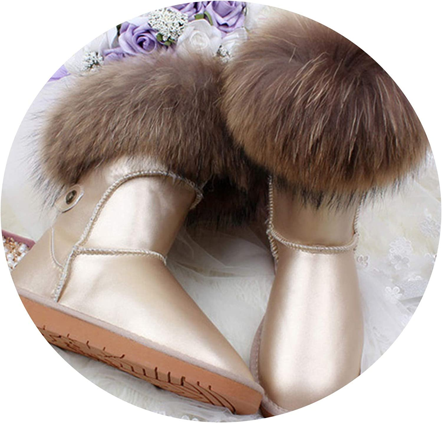 ExpertS shoes Natural Fox Fur Snow Boots Genuine Leather Women Middle Calf Boots