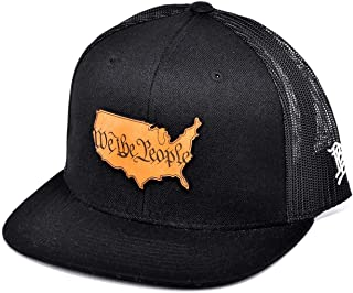 Branded Bills `The Constitution` Leather Patch Hat Flat Trucker - One Size Fits All