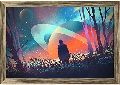 ArtzFolio Man Standing Alone with Fictional Planets Tabletop Painting Antique Golden Frame 8.3 X 6Inch