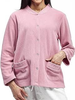 La Cera Women's Plus-Size Snap Front Fleece Bed Jacket