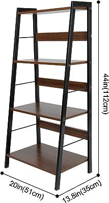 Lifewit Bücherregal Standregal Treppenregal Raumteiler Wandregal Aktenregal Leiterregal Büroregal Badregal Pflanzenregal mit 4 Ablageflächen aus Metall und Holz