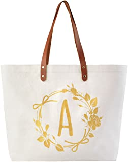 ElegantPark A Initial Personalized Gift Monogram Tote Bag with Interior Zip Pocket Canvas
