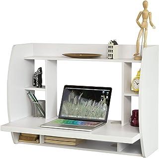 SoBuy® FWT18-W Table Murale Bureau avec Étagère intégrée Armoire de Rangement Murale (Blanc)