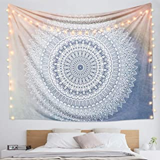 "Dremisland Indian Tapestry Hippie Bohemian Grey Mandala Flower Tapestry Wall Hanging Bedding Tapestry (Grey Flower, M:59""X51"")"