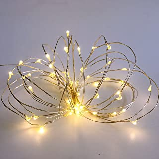 Pack 2 Battery Operated String Lights with Timer 6Hours on/18Hours off,Mini Led Fairy Lights for Party Christmas Decorations 50 Count Leds 18Ft Silver Wire (Warm White)
