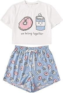 DIDK Women's Flamingo Print Cami and Plaid Shorts Pajama Set