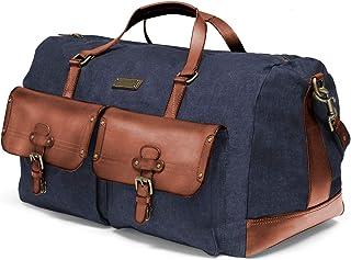 DRAKENSBERG Reisetasche im Vintage-Look, groß, XL, robust und stark, Premium-Qualität, Kimberley-Long-Weekender, 55 L, Jeans-Stoff und Echt-Büffel-Leder, Denim-blau, DR00114