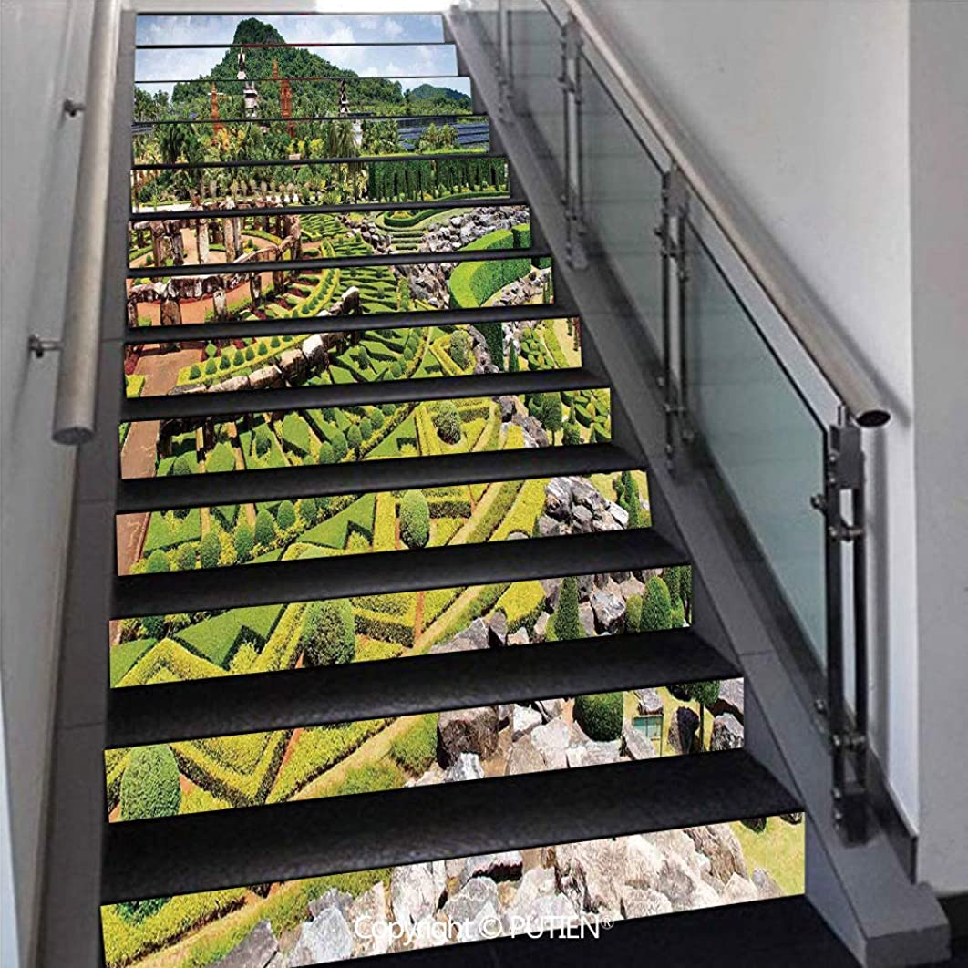 PUTIEN Multicolor Stair Stickers Wall Stickers,13 PCS Self-Adhesive [ Country Home Decor,Landscaping in The