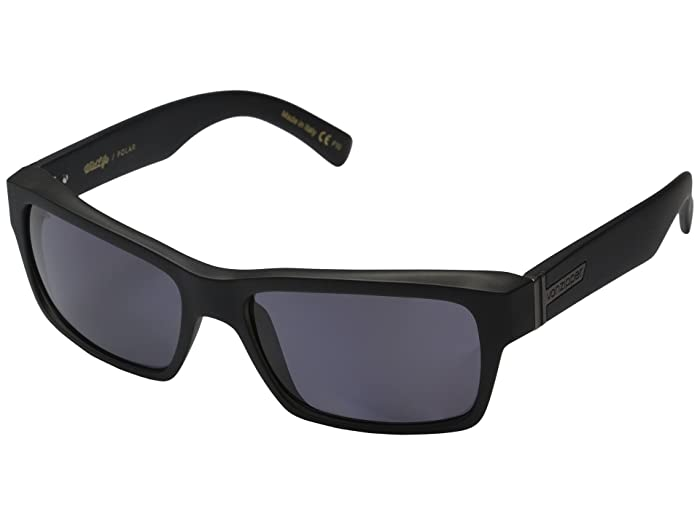 VonZipper Fulton Polarized (Black Smoke Satin/Vintage Grey Wildlife Polarized Lens) Sport Sunglasses