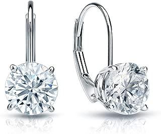 4.0 CT BRILLIANT ROUND CUT Simulated Diamond CZ Solitaire DROP DANGLE LEVERBACK EARRINGS 14K WHITE GOLD