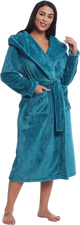 Weich Flauschig Lang Joyaria Damen Winter Fleece Bademantel//Morgenmantel//Saunamantel//Hausmantel mit Kapuze