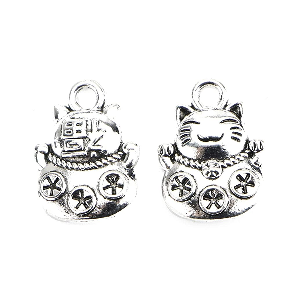 Monrocco 50Pcs Antique Silver Tone Cat Charm Lucky Charm Animal Charm Pet Charm for Bracelet Jewelry Making