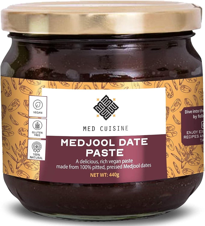 Pasta de dátiles Medjool Premium Med Cuisine (440GR) - Pasta de dátiles Medjool 100% sin hueso, vegana, vegetal, sin conservantes, buena fuente de fibra y kosher (Pasta de dátiles, 1 paquete)