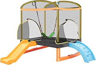 CRINEX 6.5ft Climb 'N Slide 'N Swing 4-in-1 Mini Rectangular Trampoline for Kids | Birthday Gift for Girls and Boys, Indoor and Outdoor Toddler's Trampoline with Safety Net Enclosure, Padding, Zipper