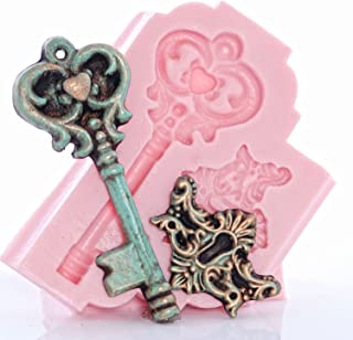 Romantic Skeleton Key Silicone Mold, Food Safe Wedding Cake Decorating with Fondant, Chocolate, Candy, Craft Mold with Resin, Polymer Clay, Soap, Wax Melts