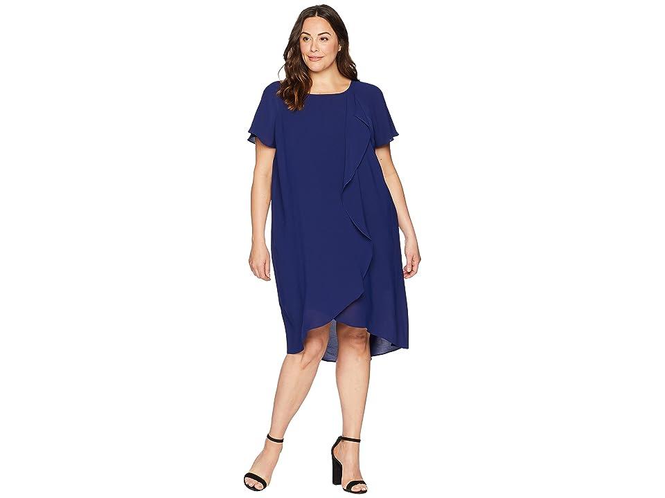 Adrianna Papell Plus Size Gauzy Crepe Corkscrew Drape (Blue Sapphire) Women