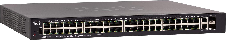 Cisco Systems SG250X-48P Smart Switch with 48 Gigabit Ethernet plus 4 10 Gigabit Ethernet Combo Ports SFP+, 382W PoE, Limited Lifetime Protection