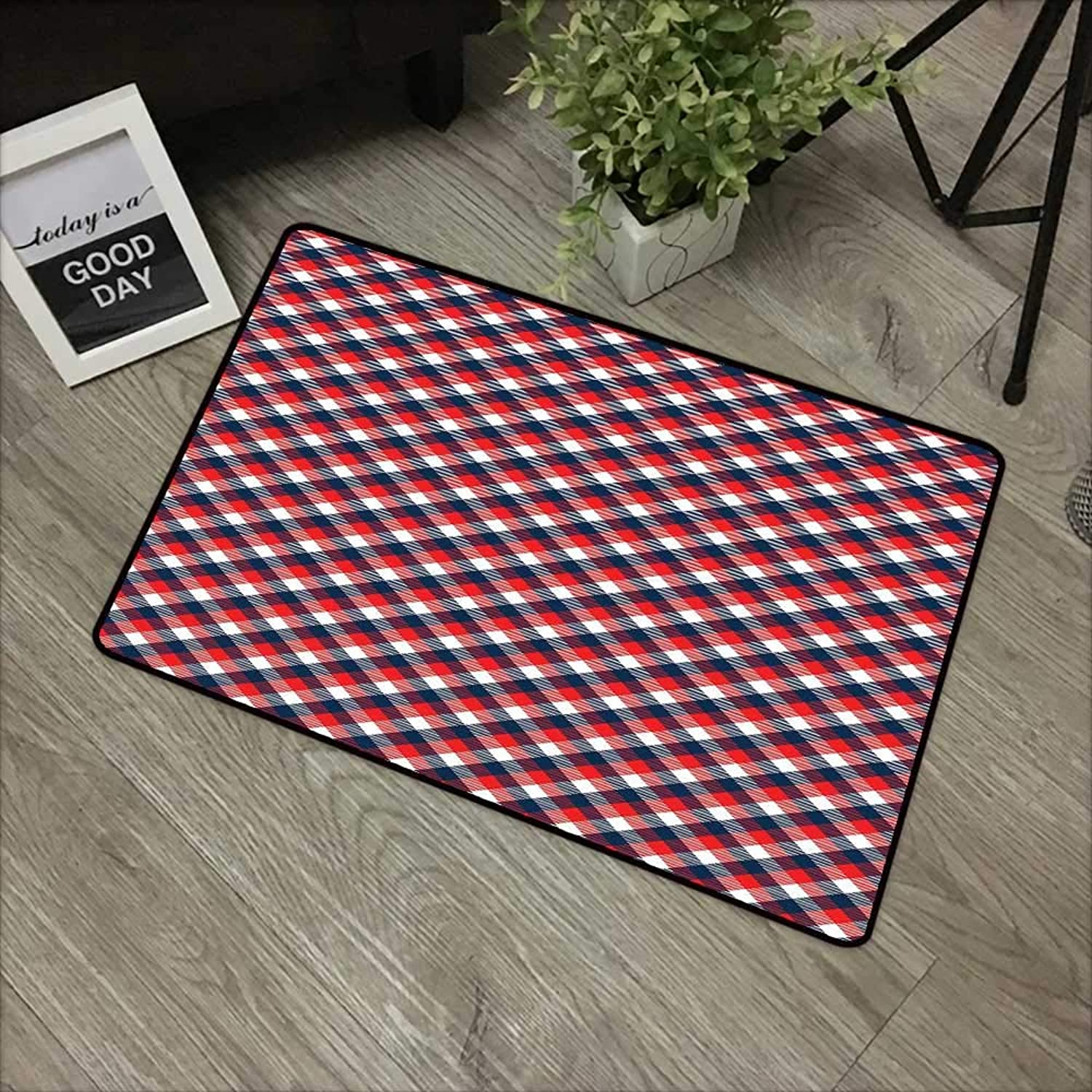 Living Room Door mat W35 x L59 INCH Plaid,Checkered Gingham with Old Fashioned English Country Striped Squares,Navy bluee Vermilion White with Non-Slip Backing Door Mat Carpet