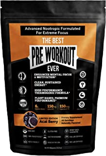 The Best Pre Workout Ever All Natural Nootropic Preworkout Powder - Clean Energy Boost Focus & Strength - Muscle Builder S...
