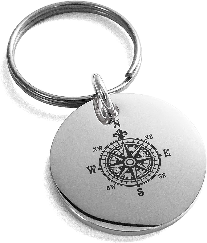Tioneer Stainless Steel Nautical Fleur de Lis Compass Small Medallion Circle Charm Keychain Keyring