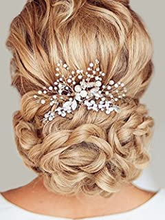 Unicra Wedding Hair Combs Hair Accessories with Bead and Rhinestones for Women (Silver)