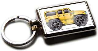 Koolart Cartoon Car Hummer H3 Chrome Keyring Picture Both Sides (Yellow)