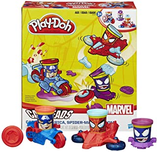 Play Doh Marvel Can Heads Captain America, Spider Man and Venom