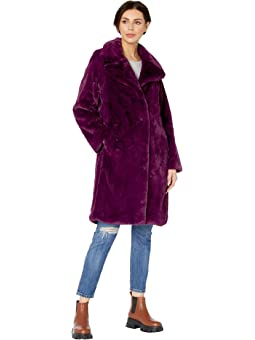 Dramatically Draped Faux Shearling Jacket Black XS~S Faux Fur Coat
