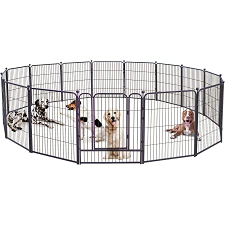 Dog Pen , 8/16/24/32 Panels Playpen 32 Inch Height in Heavy Duty ,Folding Indoor Outdoor Anti-Rust Dog Exercise Fence, Portable Pet Playpen with Door for Large Medium Small Dogs and Pet