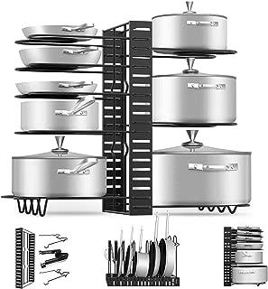 Pan Pot Organizer Rack, MASSUGAR Pan Organizer Adjustable Pot Rack, Black Metal Kitchen Cabinet Pantry Pot Lid Holder, 3 DIY Methods (Black)