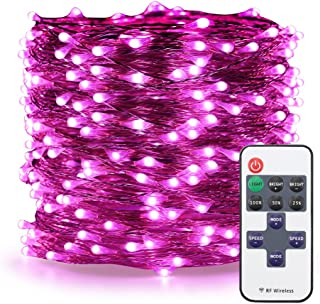 ER CHEN Pink LED String Lights Plug in, 99ft 300 LED Christmas Fairy Lights Dimmable with RF Remote, Silver Coated Copper Wire Decorative Lights for Indoor and Outdoor, Patio, Garden, Yard, Party